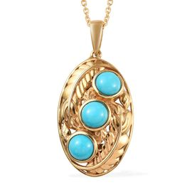 1.75 Ct Arizona Sleeping Beauty Turquoise Leaf Pendant with Chain in Gold Plated Sterling Silver