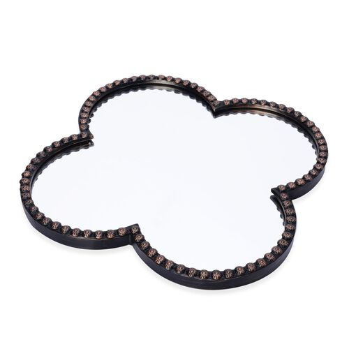 (Option 2) Clover Shaped Decorative Metallic Wall Mirror (Size 5x35 Cm)