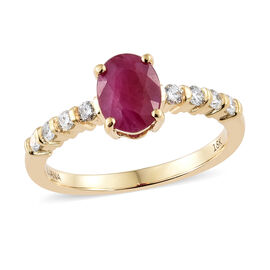 ILIANA 18K Yellow Gold AAA Burmese Ruby (Ovl) Diamond Ring 1.750 Ct.