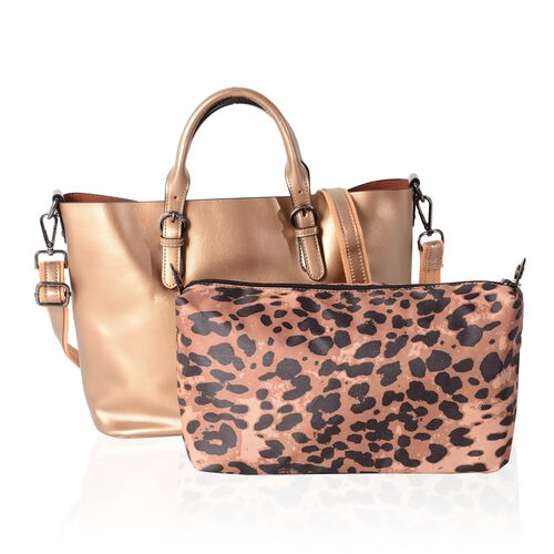 2 Piece Set - 100% Genuine Leather Metallic Golden Tote Bag (Size 36x30x23.5x12.5 Cm) and Leopard Pa