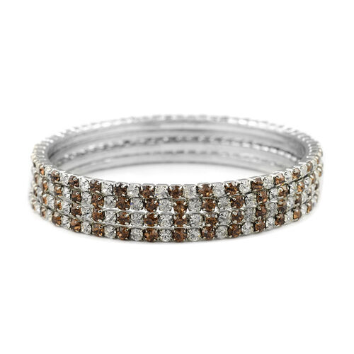 4 Piece Set - Light Brown Austrian Crystal Bangle (Size 7.75) in Silver Tone