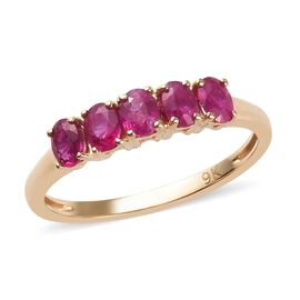 9K Yellow Gold AA Burmese Ruby Five Stone Ring 1.00 Ct.