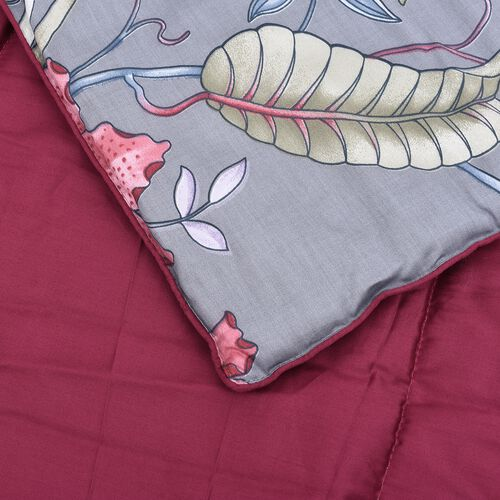 3 Piece Set - 100% Mulberry Silk Double Size Quilt with Cotton Floral  Printed Cover and Two Pillow Case with Handle Bag Packing - Grey