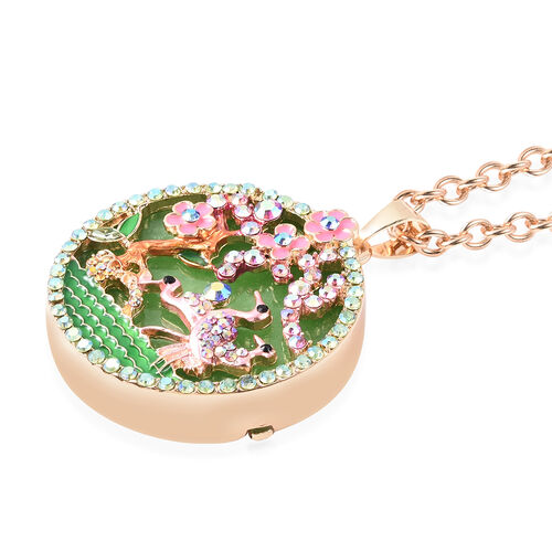Green Quartzite, Simulated Emerald and Multi Colour Austrian Crystal Enamelled Floral vine and Crane Pendant with Chain (Size 24 with 3 inch Extender) in Yellow Gold Tone 100.00 Ct.
