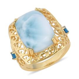 Larimar (Cush 18x13 mm), Malgache Neon Apatite Ring in Yellow Gold Overlay Sterling Silver 14.000 Ct, Silver wt 6.39 Gms