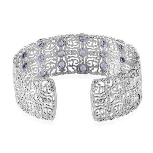 Tanzanite (Ovl), White Topaz Cuff Bangle (Size 7.5) in Platinum Overlay Sterling Silver 8.000 Ct. (Silver Wt. 39 Gms.)