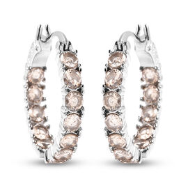 One Time Dea - Simulated Champagne Diamond Inside Out Hoop Earrings (with Clasp) in  Stainless Steel