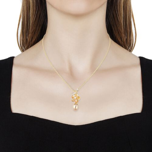 Jardin Collection -  Yellow Mother of Pearl, Golden South Sea Pearl, Citrine and Natural White Cambodian Zircon Pendant With Chain (Size 18 with 2 inch Extender) in Yellow Gold Overlay Sterling Silver