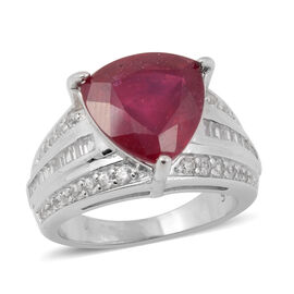 7.33 Ct AAA African Ruby and Zircon Solitaire Desgin Ring in Rhodium Plated Silver 5.40 grams