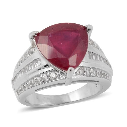 7.33 Ct AAA African Ruby and Zircon Ring in Rhodium Plated Silver 5.40 grams