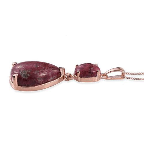 Norwegian Thulite (Pear 16.00 Ct) Pendant With Chain in Rose Gold Overlay Sterling Silver 19.000 Ct.
