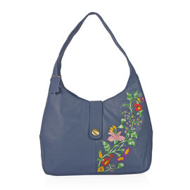 Premium Collection 100% Genuine Leather Blue Colour Floral Embroidered RFID Blocker Bag (Size 35x25x