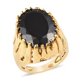 7 Carat Elite Shungite Solitaire Ring in 14K Gold Plated Sterling Silver 8.30 Grams