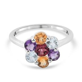 Citrine, Bolivian Amethyst, Skyblue Topaz and Rose Garne Floral Cluster Ring in Sterling Silver 1.56