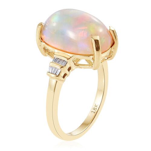 ILIANA 18K Yellow Gold AAA Ethiopian Welo Opal (Cush 5.10 Ct), Diamond (SI/G-H) Ring 5.200 Ct.