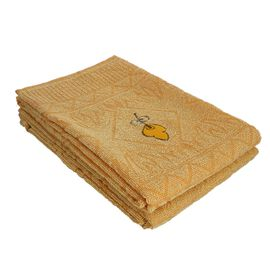 Set of 2 - 100% Cotton Embroidered Terry Bath Towel (Size: 130X70 CM)- Yellow.