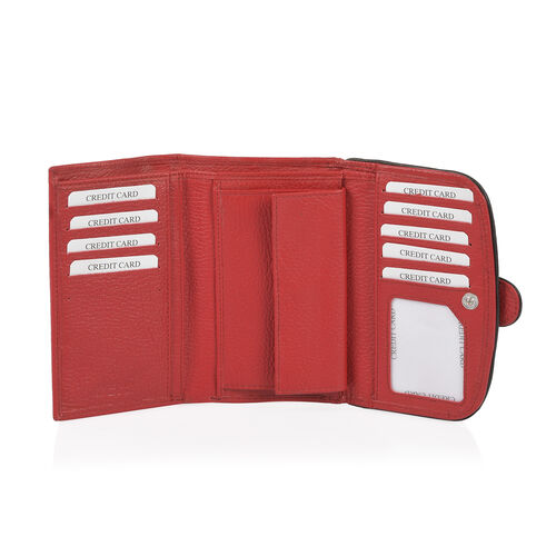 Sassy Red with Black Trim 100% Genuine Leather RFID Secured Wallet (Size 15x2x10 Cm)