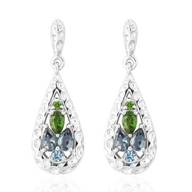RACHEL GALLEY Misto Collection - AA London Blue Topaz and Russian Diopside Dangle Earrings (with Pus