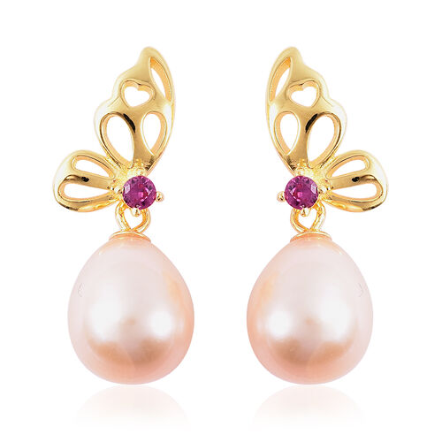 Freshwater Peach Pearl and Simulated Ruby Drop Earrings (with Push Back) in Yellow Gold Overlay Ster