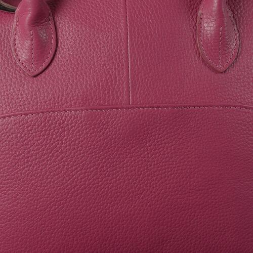 Close Out Deal 100% Genuine Leather Deep Fuschia Colour Fantasy RFID Blocker Large Tote Bag Bag (Size 29x24x11 Cm)