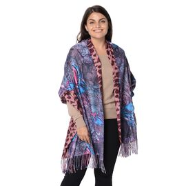 Reversible Digital Printed Leopard and Butterfly Pattern Scarf with Tassel (Size 70x180 Cm) - Pink a