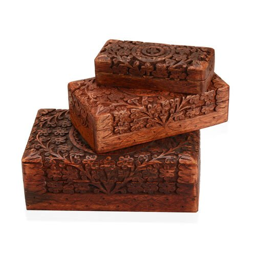 3 Piece Set- Handcrafted Tree of life Nested Boxes In Mango Wood  (Small Size 5.3x2.25x1.25 Cm), (Medium Size 6.7x3.5x2) and (Large 8x5x2.75 Cm)