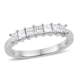 RHAPSODY 950 Platinum IGI CERTIFIED Diamond (Sqr) (E-F/ VS) Ring 0.50 Ct.