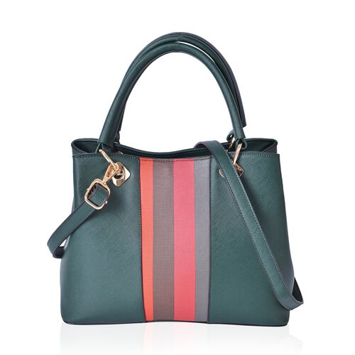 Green, Pink and Multi Colour Stripes Pattern Tote Bag with Adjustable and Removable Shoulder Strap (Size 30.5X23X13.5 Cm)