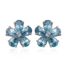 Ratnakiri Blue Zircon (Pear), Natural White Cambodian Zircon Floral Stud Earrings (with Push Back) i