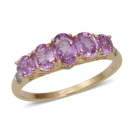 2 Carat AA Pink Sapphire and White Sapphire 5 Stone Ring in 9K Gold 1.9 Grams
