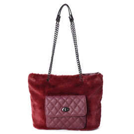 Faux Fur Tote Bag with Front Quilted Pattern Pocket and Zipper Closure (Size 33x27.5x12 Cm) - Wine