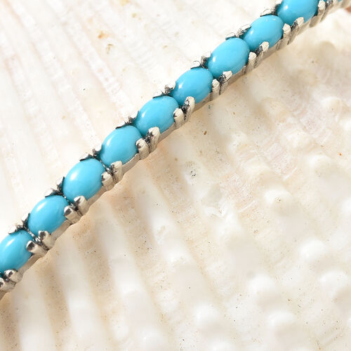 Arizona Sleeping Beauty Turquoise (Ovl) Adjustable Bracelet (Size 6.5 to 9.5 Inch) in Platinum Overlay Sterling Silver 1.000 Ct.