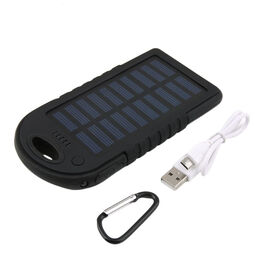 5000 mah Power Bank in Solar Panel and Mountaineering Buckle with USB Cable (Size:15x7.5Cm) - Black