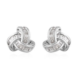 Diamond (Bgt) Triple Knot Earrings (with Push Back) in Platinum Overlay Sterling Silver 0.255 Ct.