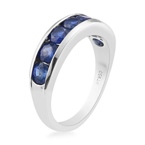 RHAPSODY 950 Platinum Ceylon Blue Sapphire Half Eternity Band Ring 2.00 Ct, Platinum wt 5.50 Gms