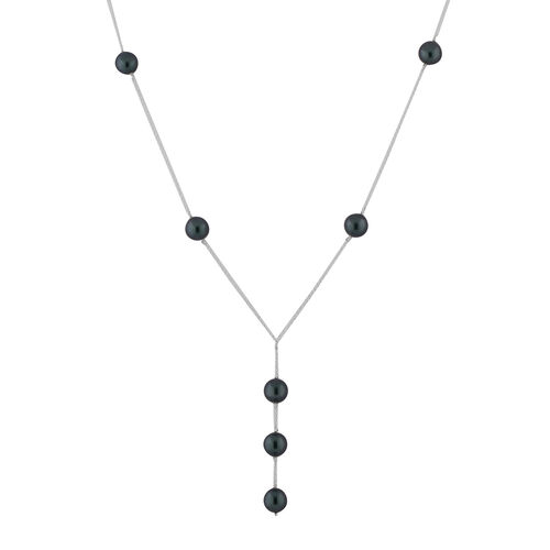 J Francis Crystal from Swarovski Iridescent Tahitian Pearl Crystal Lariat Necklace (Size 18) in Ster