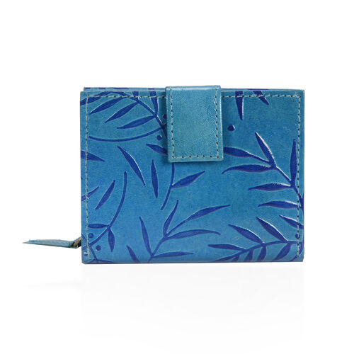 100% Genuine Leather Blue Colour Hand Printed  Leaves Pattern Wallet With RFID Blocker (Size 12x2.5x