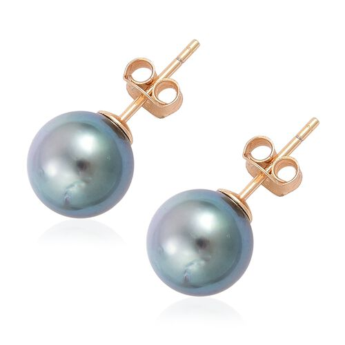 Tahitian Pearl (Rnd 9-10mm) Ball Stud Earrings (with Push Back) in Yellow Gold Overlay Sterling Silver