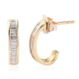 9K Yellow Gold SGL Certified Diamond (Bgt) (I2-I3/G-H) Earrings (with Push Back) 0.330  Ct.