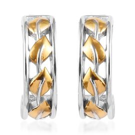 Platinum and Yellow Gold Overlay Sterling Silver J-Hoop Leaf Earrings (with Push Back)