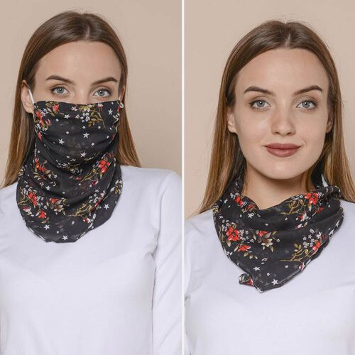 2 in 1 Flower Pattern Chiffon Soft Feel Scarf and Protective Face Covering (Size 45x45 Cm) - Black & Red