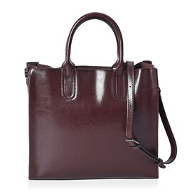 100% Genuine Leather Tote Bag with Detachable Shoulder Strap and Zipper Closure (Size 33x12x28 Cm) -