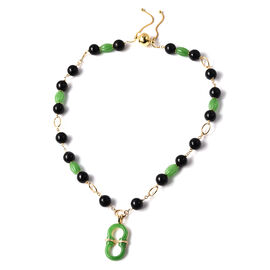 Black and Green Jade Adjustable Necklace (Size 20) with Removable Pendant and Magentic Lock in Yello