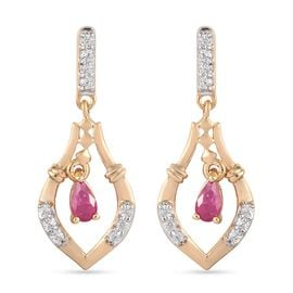 Burmese Ruby and Natural Cambodian Zircon Earrings (with Push Back) in 14K Gold Overlay Sterling Sil