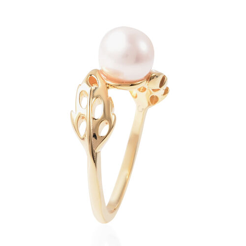 RACHEL GALLEY - Freshwater White Pearl Latticework Feather Ring in Yellow Gold Overlay Sterling Silver