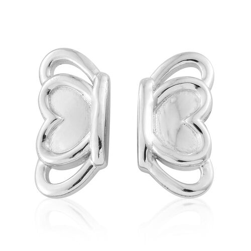Platinum Overlay Sterling Silver Half Butterfly Stud Earrings (with Push Back), Silver wt. 3.83 Gms.