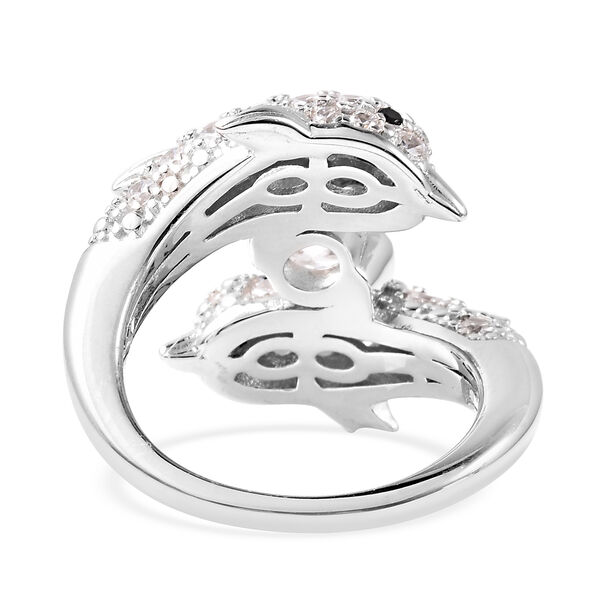 J Francis - Boi Ploi Black Spinel Rhodium Overlay Sterling Silver Dolphin Ring made with SWAROVSKI ZIRCONIA 3.07 Ct.