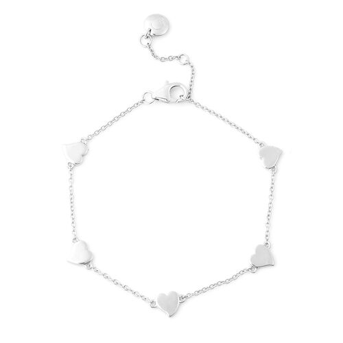 RACHEL GALLEY Heart Collection - Rhodium Overlay Sterling Silver Heart Station Adjustable Bracelet (