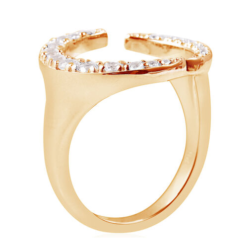 Isabella Liu - Twilight Collection - Natural White Cambodian Zircon (Rnd) Adjustable Ring in Yellow Gold Overlay Sterling Silver
