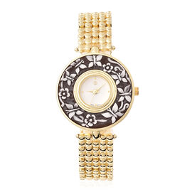 STRADA Japanese Movement Butterfly and Floral Carved Dial Watch in Gold Tone